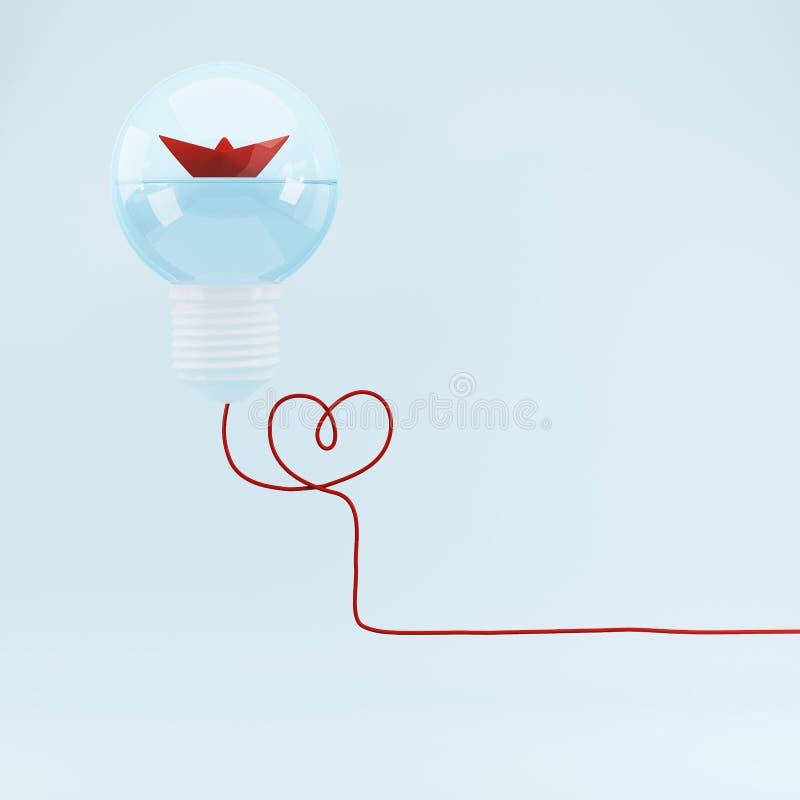 Rode boot in het concept van de gloeilampenleiding, strategie, opdracht, doelstellingen, Vlakke stijl Minimaal concept royalty-vrije illustratie