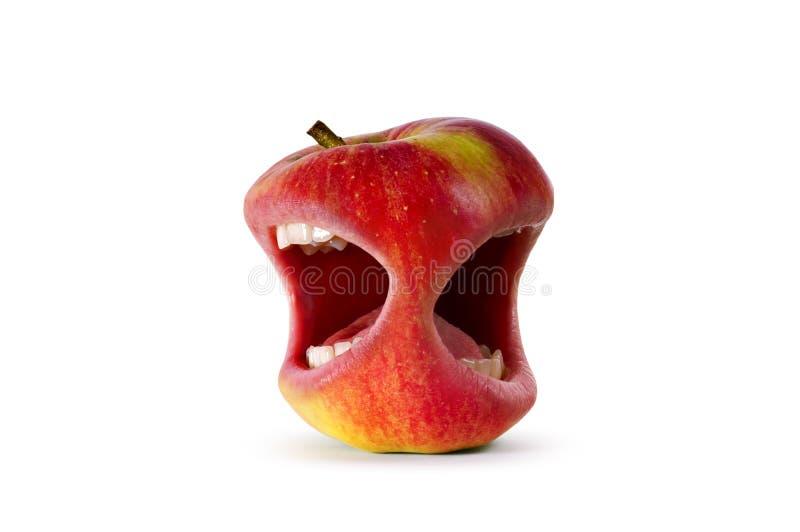 Rode boze appel met mond stock afbeelding