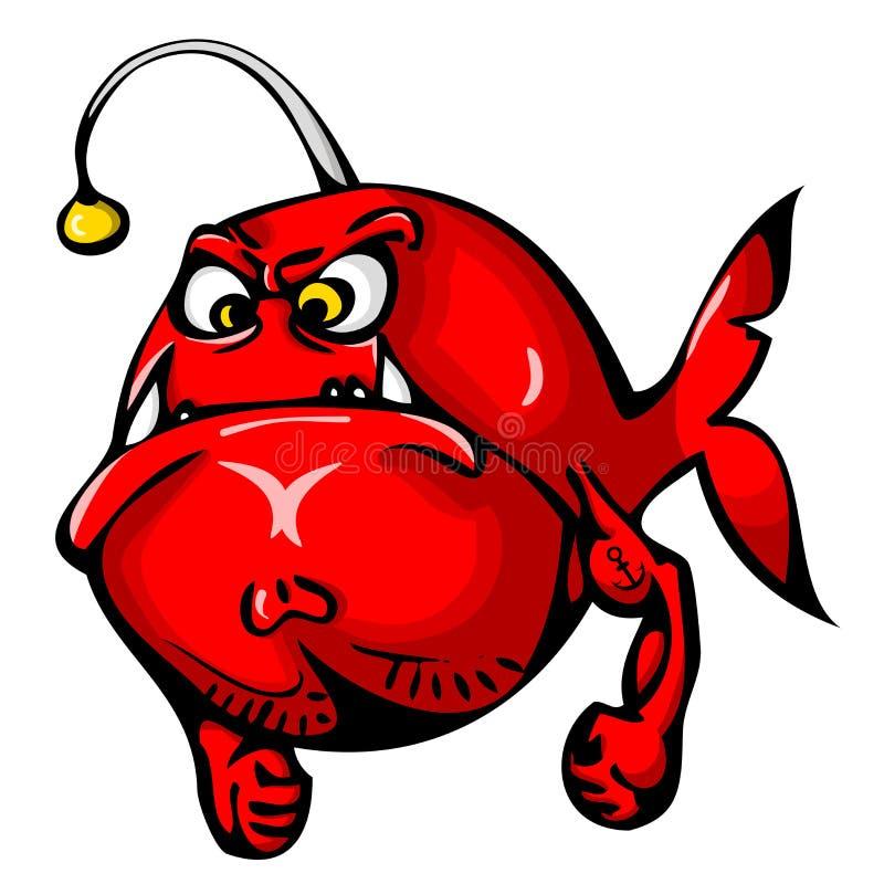 Rode boze die vissen met tatoegering op hand op witte achtergrond wordt geïsoleerd vector illustratie