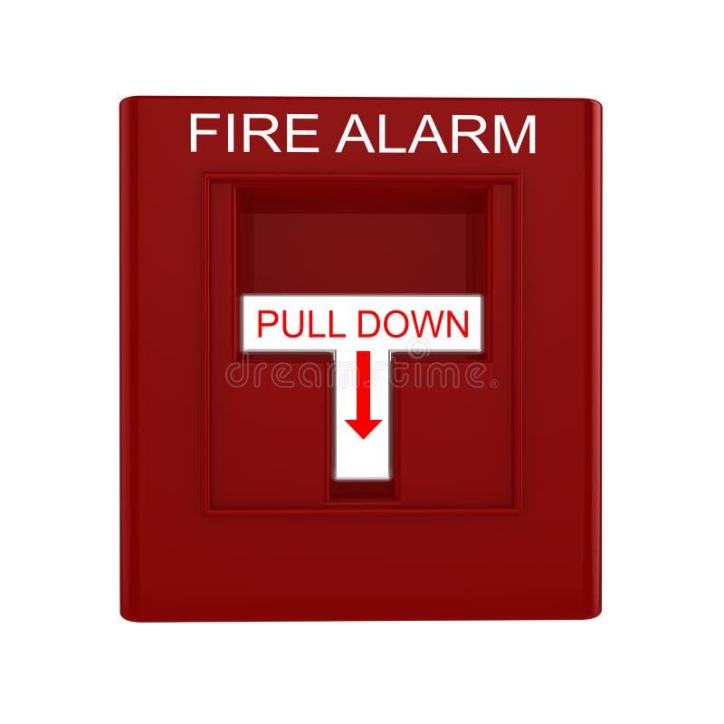 Rode brandalarmschakelaar met trekkracht onderaan hefboom vector illustratie