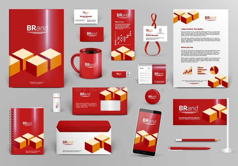 Rode brandmerkende ontwerpuitrusting met bakstenen vector illustratie