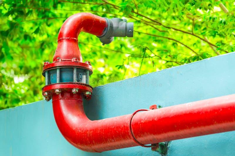 Rode Brandpompen, Brandweerkorpsschakelaar, Brandkraan, Slangco stock foto