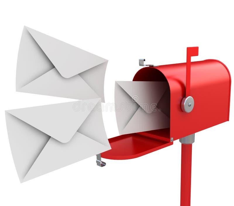 Rode brievenbus met brieven stock illustratie