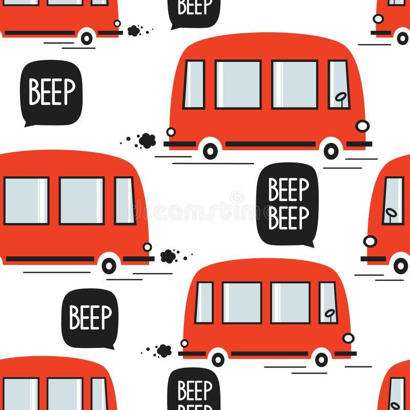 Rode bussen, naadloos patroon stock illustratie