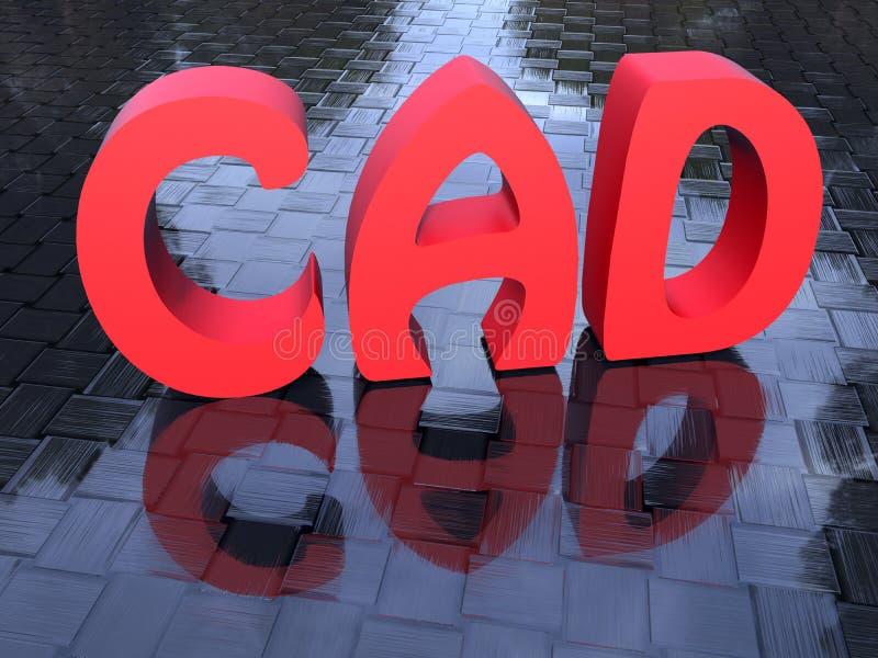 Rode CAD - ontwerp Met computer stock illustratie