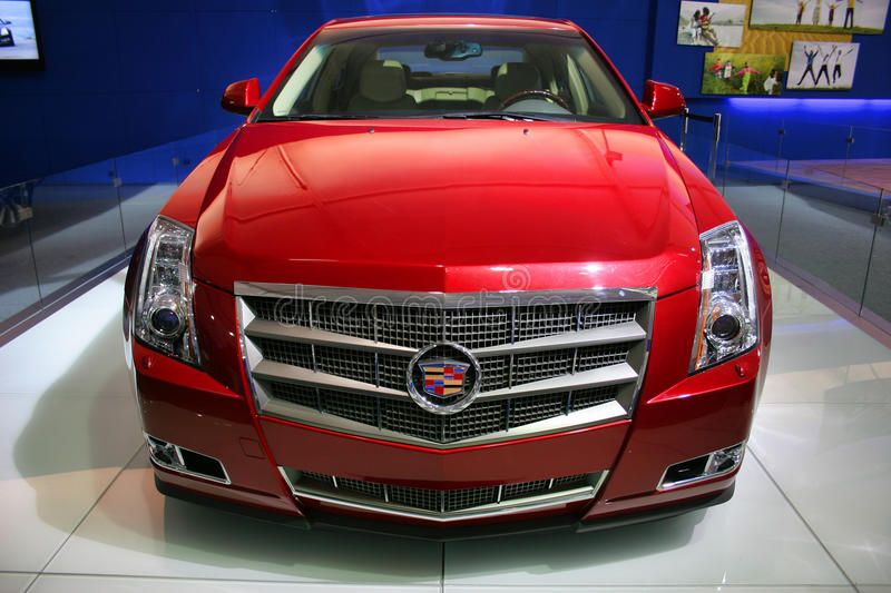 Rode Cadillac stock afbeelding