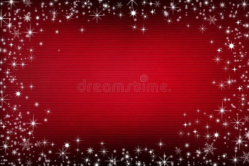 Rode canvasachtergrond met sneeuw en sterren stock fotografie