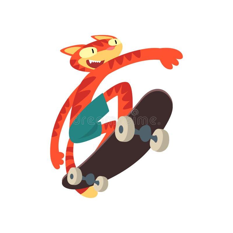 Rode Cat Riding Skateboard, Grappig Dierlijk Karakter die Voertuig Vectorillustratie gebruiken vector illustratie