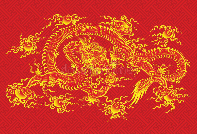 Rode Chinese draak royalty-vrije illustratie