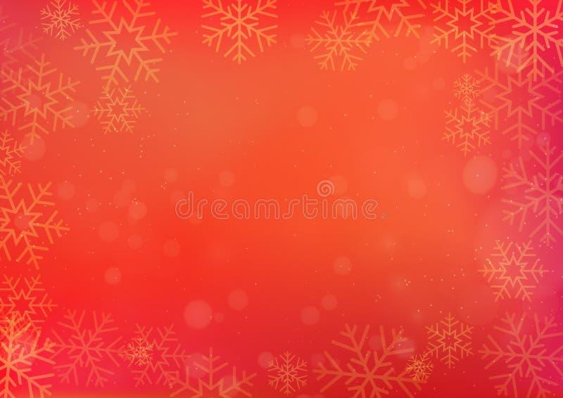 Rode Chinese Nieuwjaar en Kerstmisachtergrond met sneeuwvlok vector illustratie