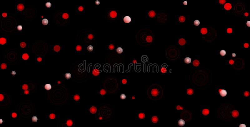 Rode cirkels met witte punten op zwarte achtergrond Abstracte bokehillustratie als achtergrond Mooie rode abstracte lichten vector illustratie