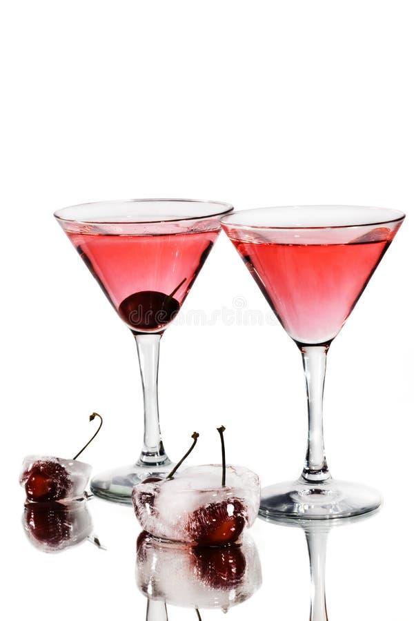 Rode cocktail in martini glazen royalty-vrije stock foto's