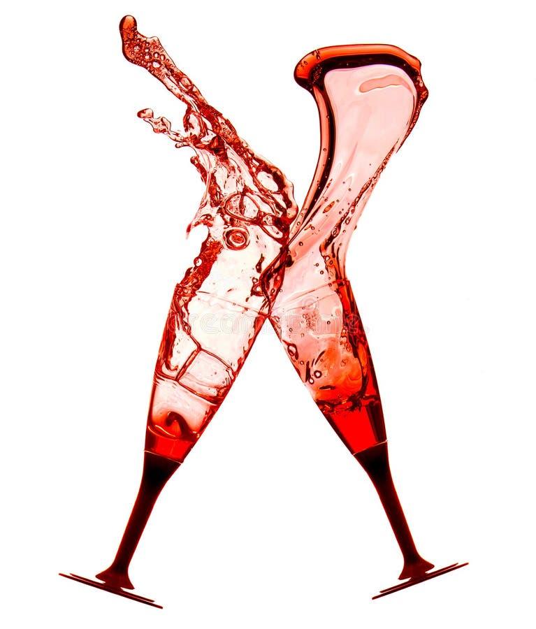 Rode cocktails met plons royalty-vrije stock foto