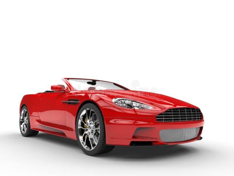 Rode convertibele sportwagen - vooraanzichtclose-up royalty-vrije stock fotografie