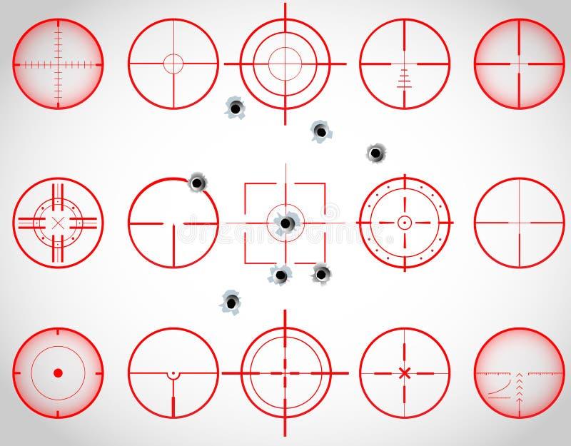Rode crosshairs royalty-vrije illustratie