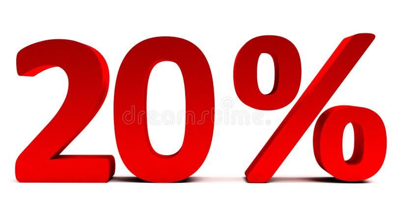 Rode 3D 20 percententekst op wit royalty-vrije stock fotografie