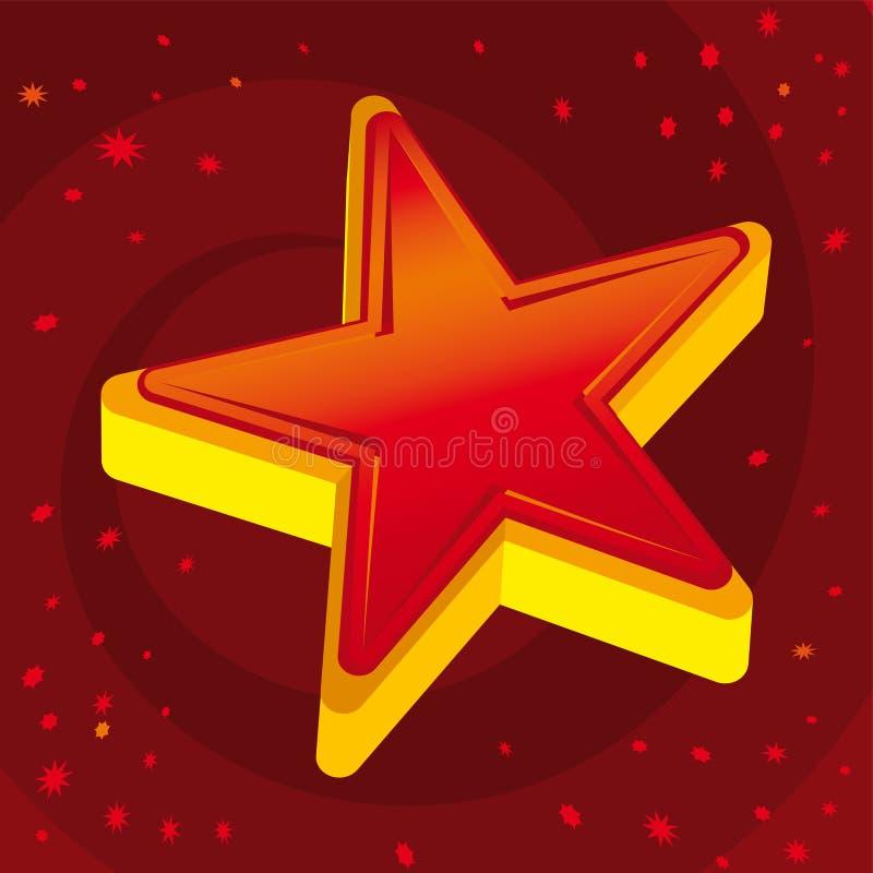 Rode 3D ster over sterrige rode achtergrond royalty-vrije illustratie