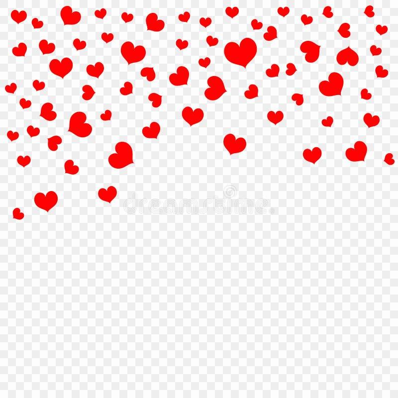 Rode dalende die hartbloemblaadjes op transparante achtergrond, patroon worden geïsoleerd De dag van Valentine ` s, confettienhar stock illustratie