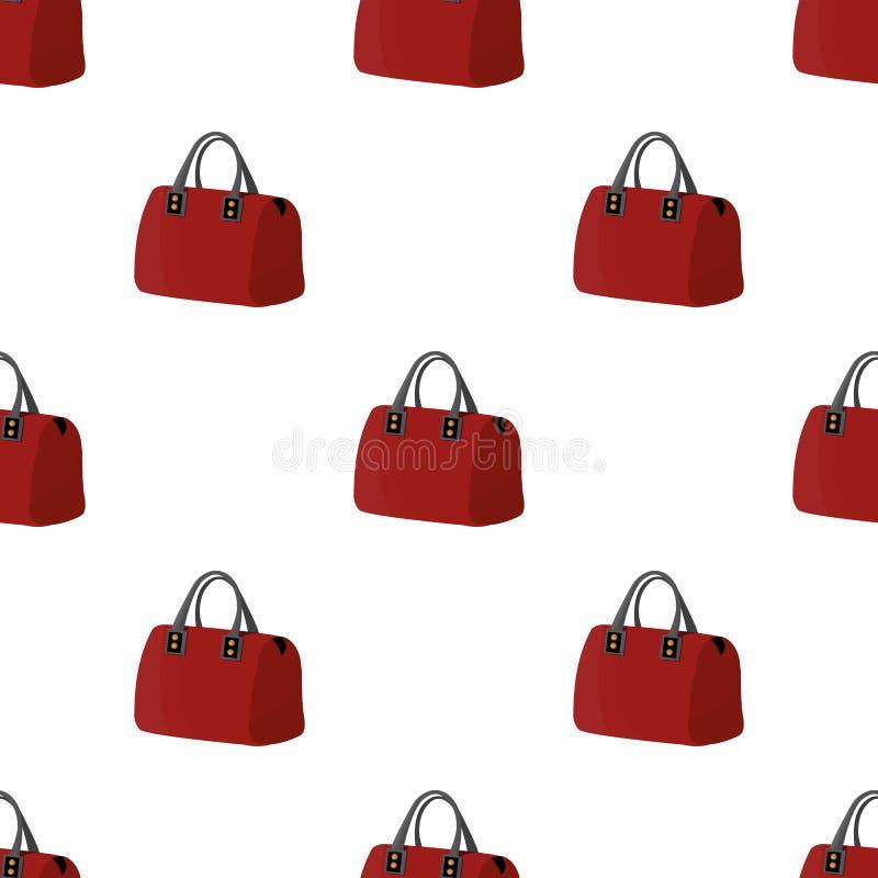 Rode dame` s zak met handvatten Dames bijkomende punten De vrouw kleedt enig pictogram in het vectorsymbool van de beeldverhaalst stock illustratie