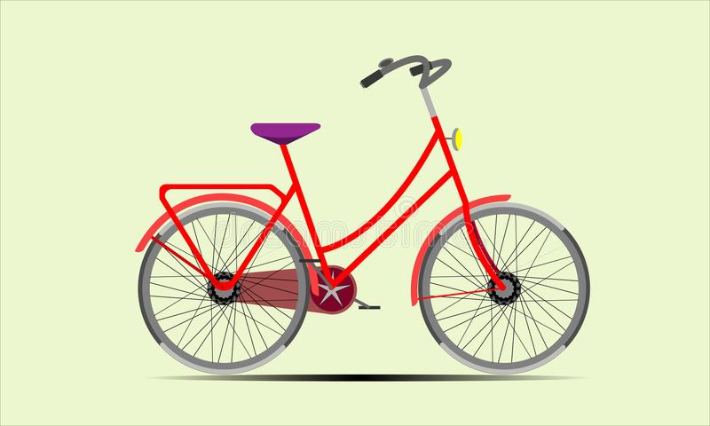 Rode Damesfiets vector illustratie