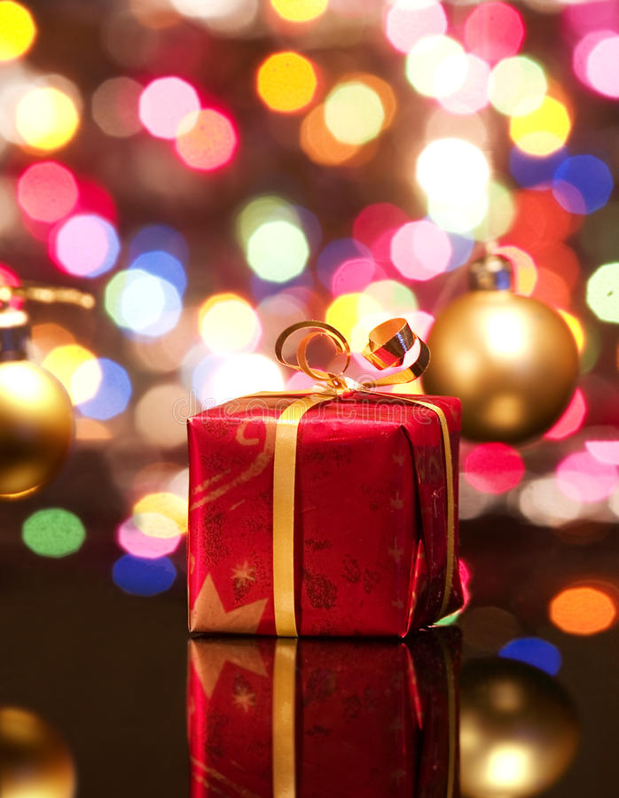 Rode de giftdoos van Kerstmis royalty-vrije stock foto's