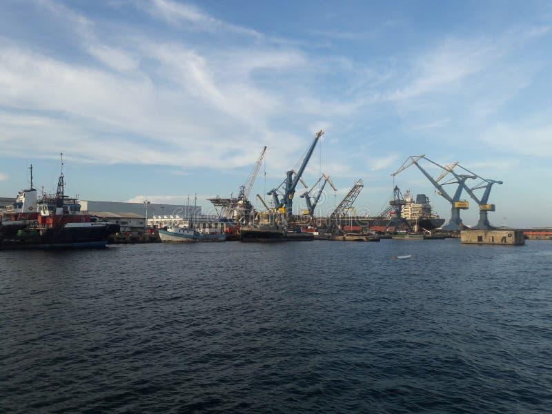 Rode de havendageraad van Veracruz en voorraden van kranen stock foto's