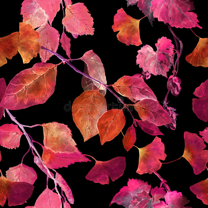 Rode de herfstbladeren, zwarte achtergrond Het naadloze patroon van de contrastherfst watercolor vector illustratie