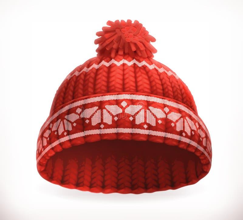 Rode de winter gebreide hoed Het pictogram van toestellen vector illustratie