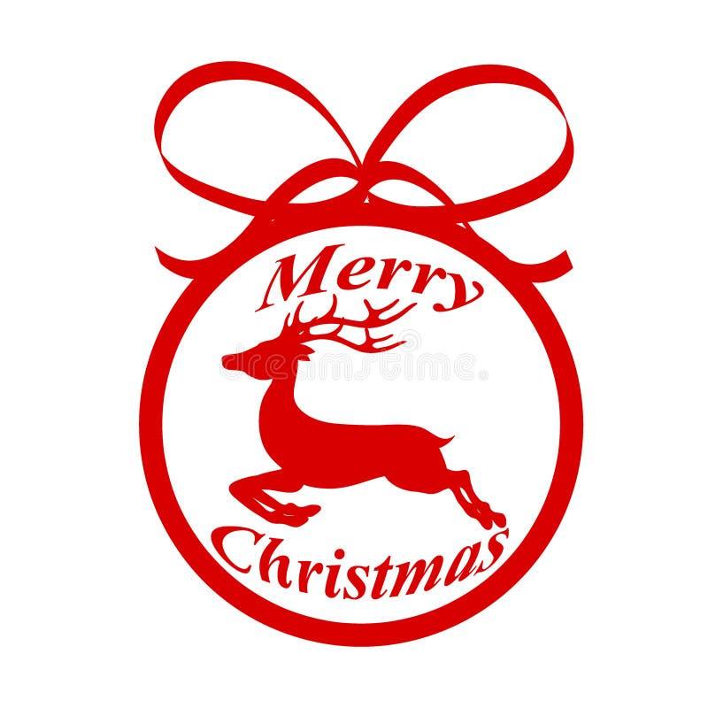 Rode decoratiebal voor Kerstmisboom met rendier en letteri stock illustratie