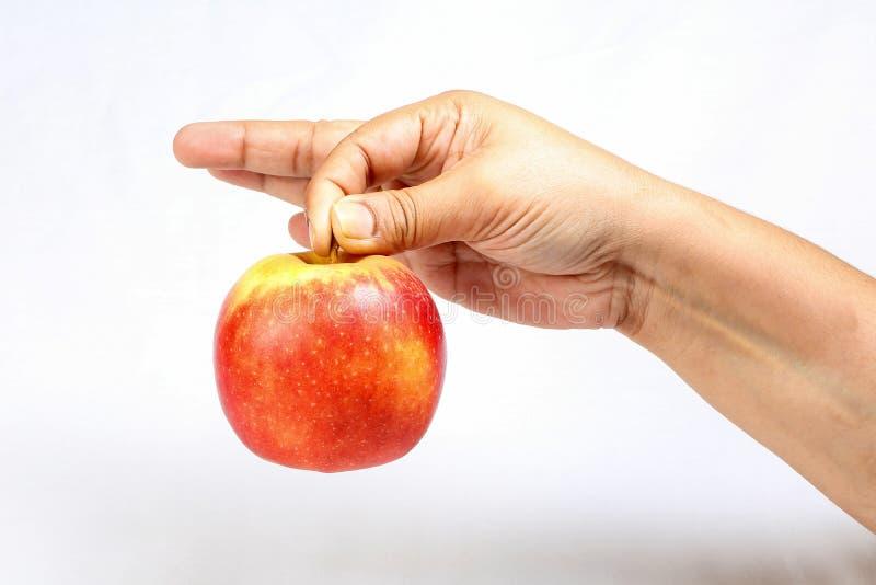 Rode die appel door han wordt gehouden stock afbeeldingen