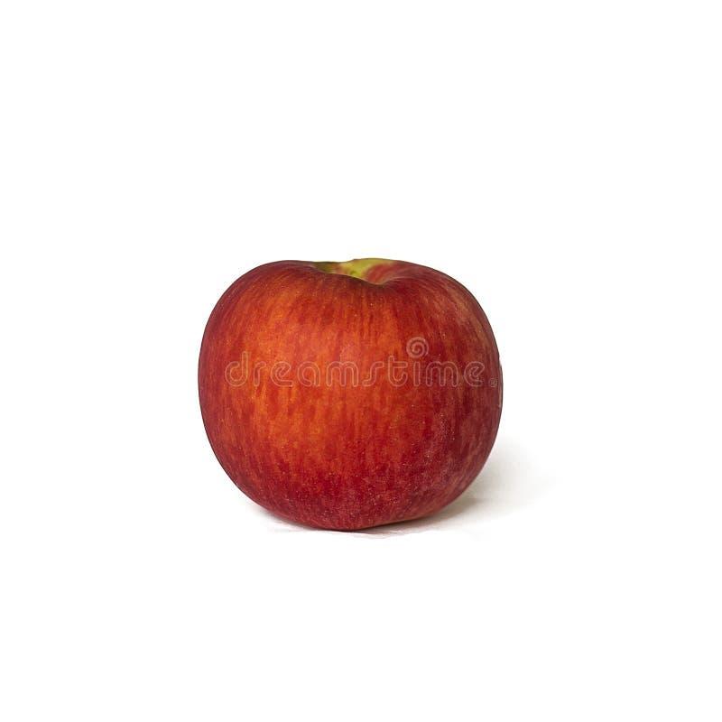Rode die appel op witte achtergrond wordt geïsoleerd stock afbeeldingen