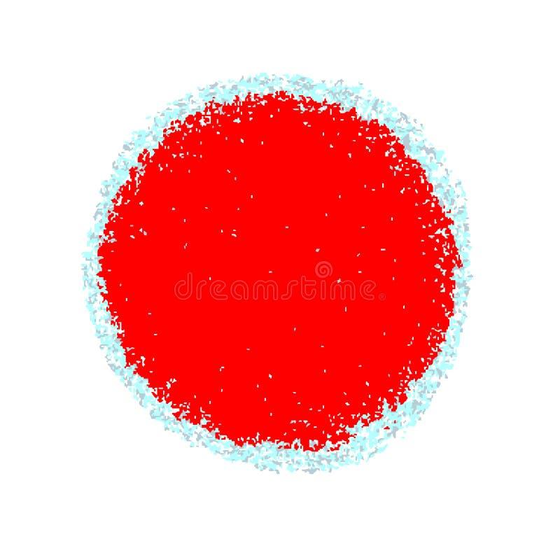 Rode die cirkel met grungetextuur, met kleine deeltjes, ijskegels wordt gegrenst royalty-vrije illustratie
