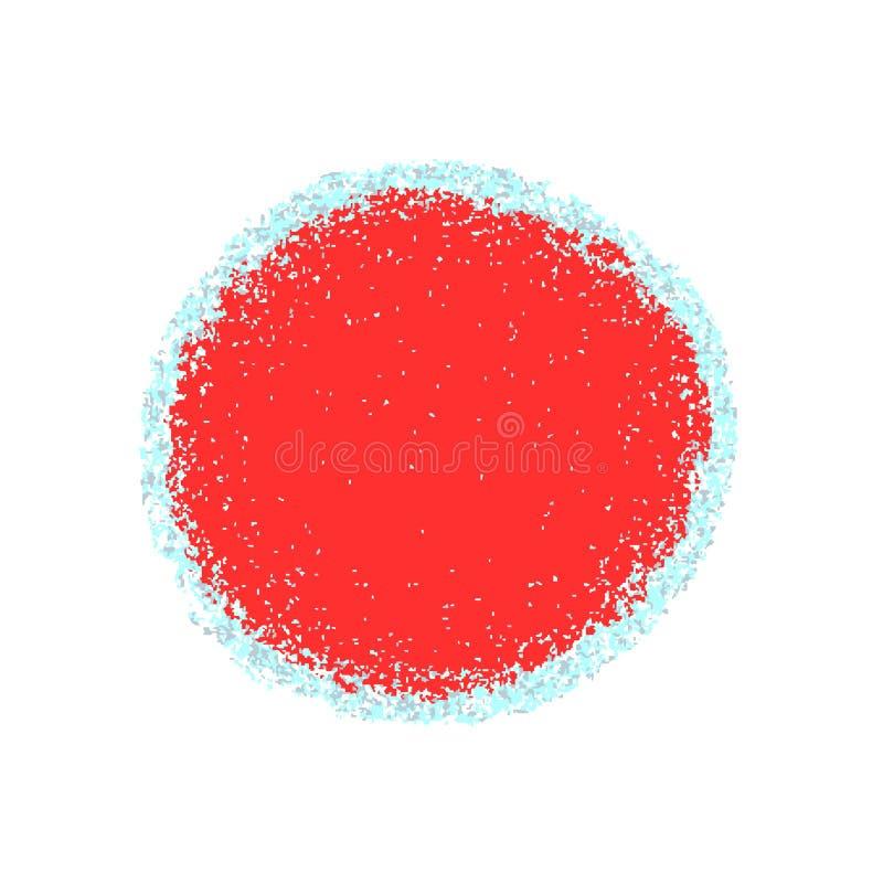 Rode die cirkel met grungetextuur, met kleine deeltjes, ijskegels wordt gegrenst stock illustratie