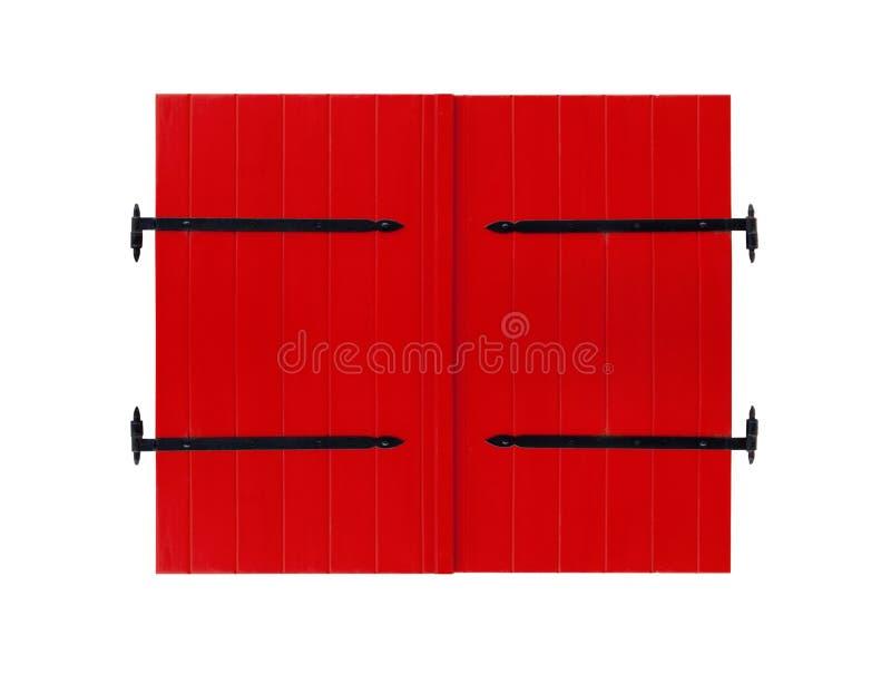 Rode die deur op witte achtergrond wordt geïsoleerd stock foto