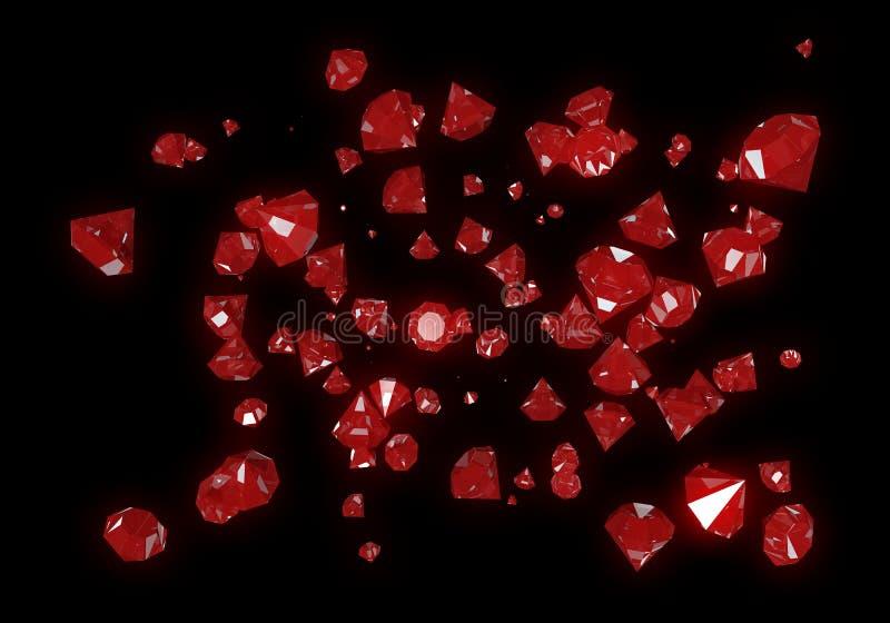 Rode die Diamanten op Zwarte Achtergrond worden geïsoleerd stock illustratie