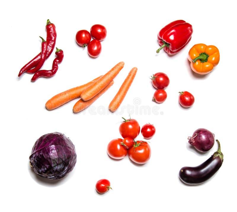 Rode die groenten op witte hoogste mening worden geïsoleerd royalty-vrije stock foto's