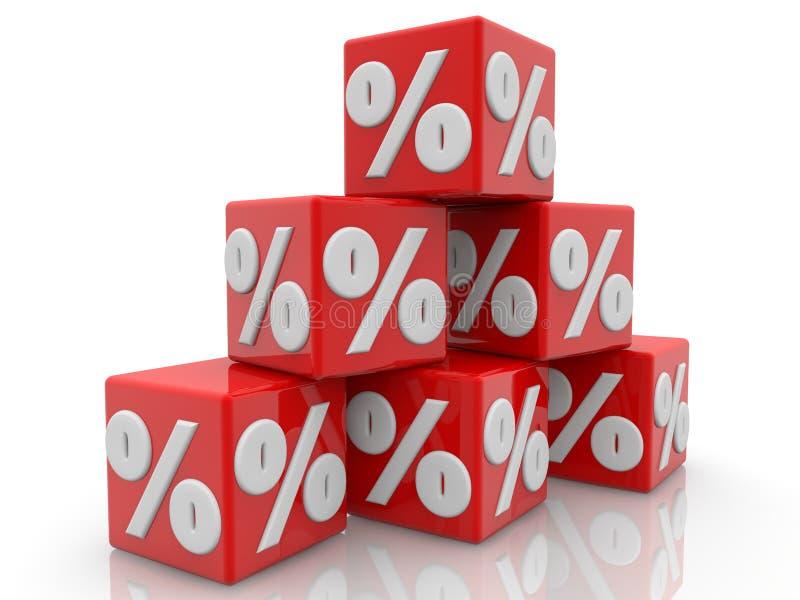 Rode die kubussen in de piramide met percentenconcept worden opgestapeld royalty-vrije illustratie