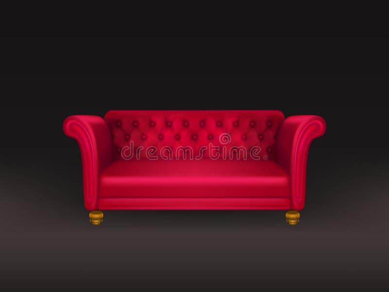 Rode die laag, bank op zwarte achtergrond wordt geïsoleerd vector illustratie