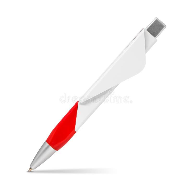 Rode die pen op witte achtergrond wordt ge?soleerd Malplaatje van ballpoint voor uw ontwerp Knippende wegen royalty-vrije illustratie