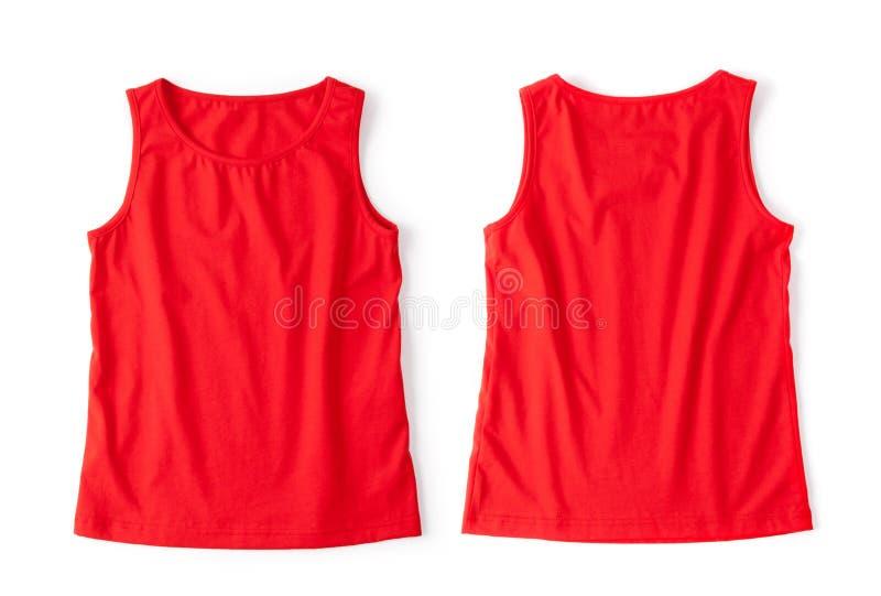 Rode die t-shirt op een witte achtergrond wordt geopend stock afbeelding