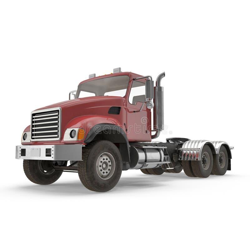 Rode die vrachtwagen op wit wordt geïsoleerd 3D Illustratie stock illustratie