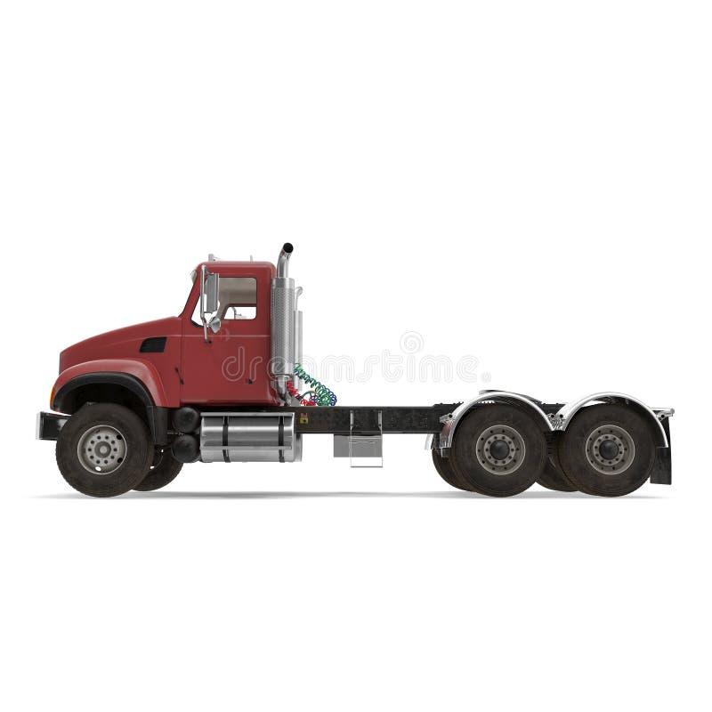 Rode die vrachtwagen op wit wordt geïsoleerd 3D Illustratie vector illustratie