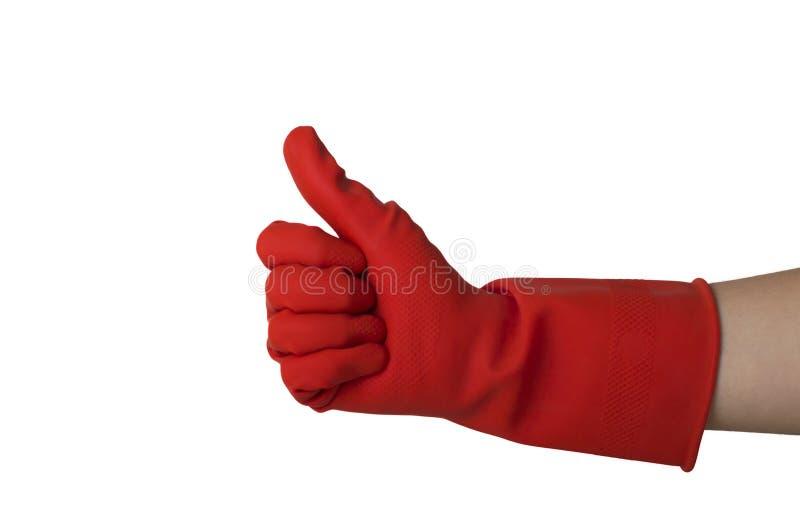 Rode dishwashing silicone schoonmakende handschoen stock fotografie