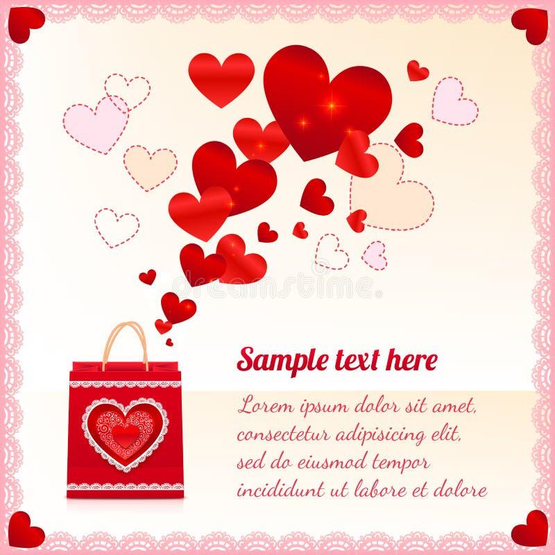 Rode document het winkelen zak met vliegende harten royalty-vrije illustratie