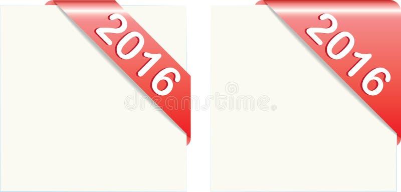Rode document hoeken met tekst 2016 vector illustratie