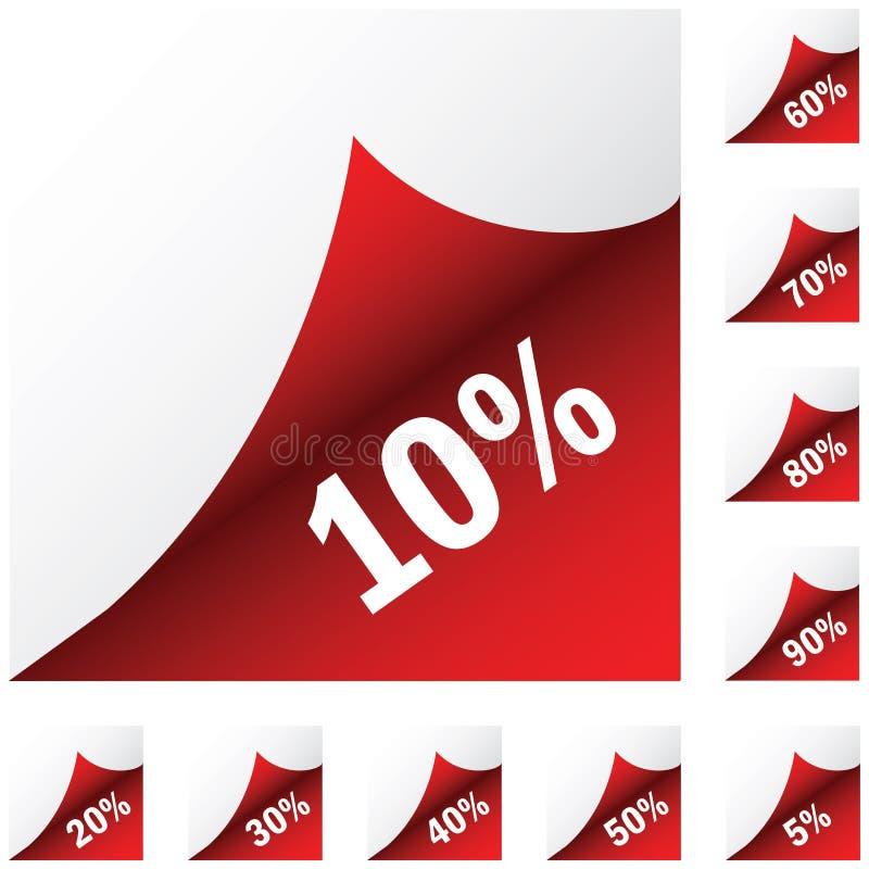 Rode document stickers met korting stock illustratie