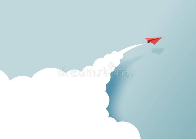 Rode document vliegtuigen die op blauwe hemel en wolk vliegen royalty-vrije illustratie