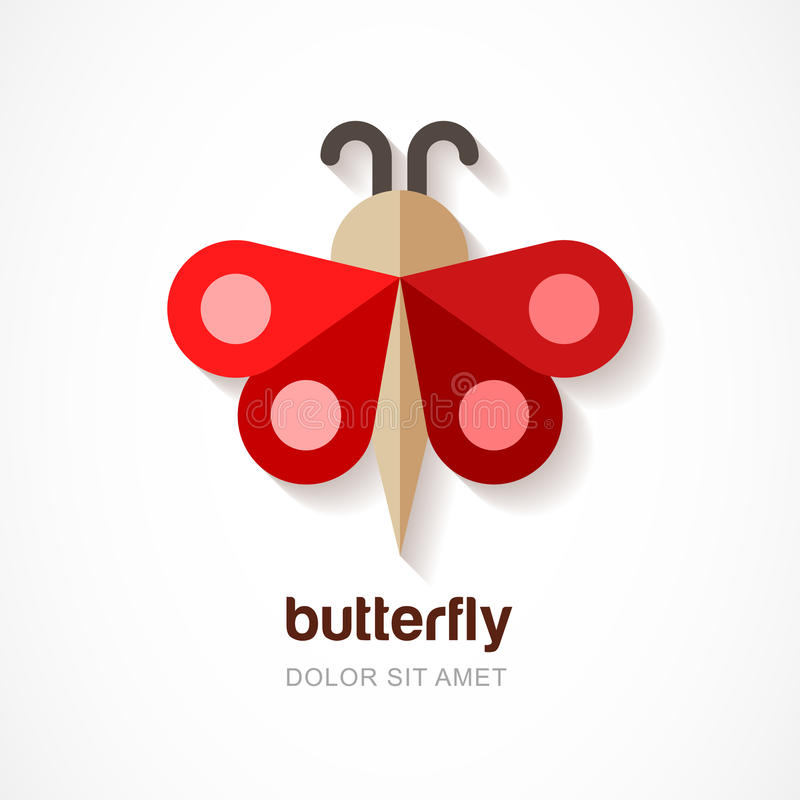 Rode document vlinder, vectorembleemmalplaatje Abstract vlak pictogram D stock illustratie
