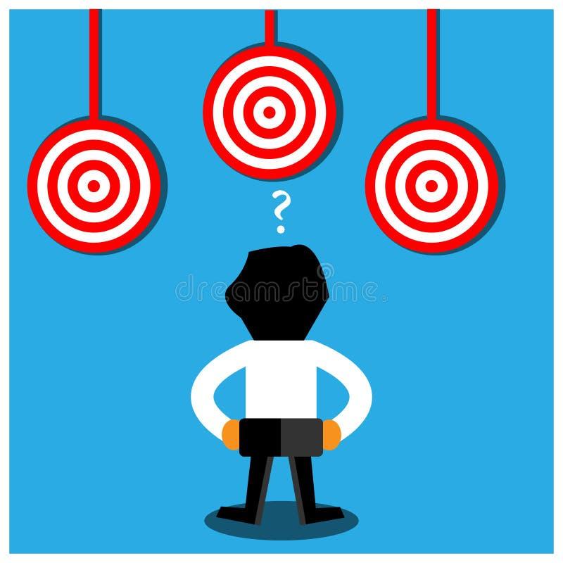Rode doelpictogram en bedrijfsmens Dit themamalplaatje toont het concept verward in het bereiken van doelstellingen royalty-vrije illustratie