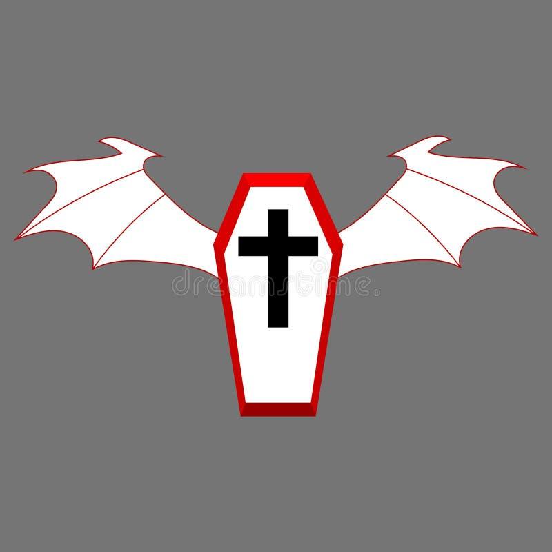 Rode Doodskist met Witte Vleugels voor uw Ontwerp, Spel, Kaart Zwart kruis Wit Deksel Halloween-elementen Vector illustratie stock illustratie